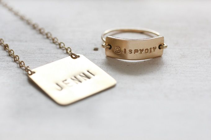 ASK THE EXPERT | Hand Stamped Jewelry | I SPY DIY. I feel like this could be done much more easily with some air-dry clay. Idea?
