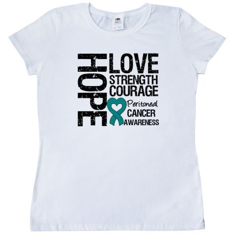 Peritoneal Cancer Hope Love Strength Women's T-Shirt - White | Cancer Shirts | Disease Apparel | Awareness Ribbon Colors