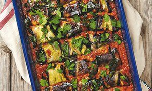 Yotam Ottolenghi's paneer-stuffed aubergine in red lentil and coconut sauce. and other aubergine recipes