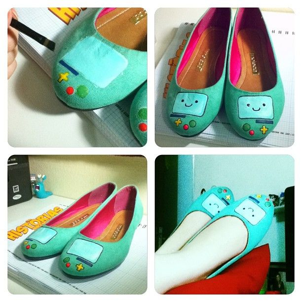 my first try painting a pair of shoes :) #bmo #adventuretime