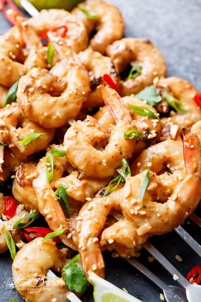 Easy grilled Satay Shrimp Skewers smothered in the BEST 10 minute Thai ...