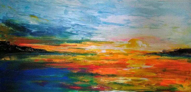 Imagina, um por do sol no final de um dia de verão sob o mar.  Pintura da autoria: Manuel Couto