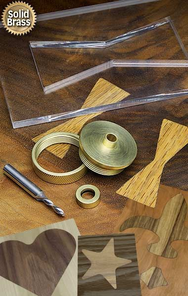 Solid brass router inlay set and downcut spiral bit Includes #9180 plus #5161 solid carbide spiral router bit. #9177............ $21.95