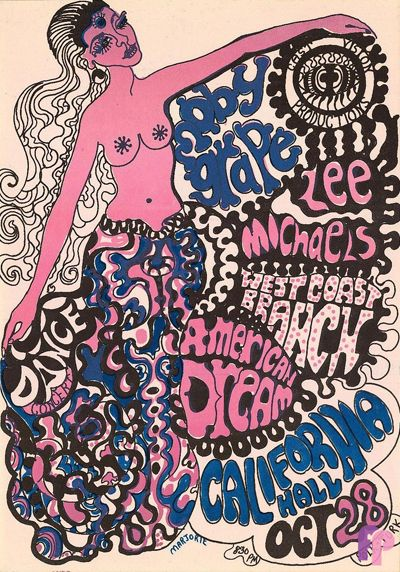 ☮ American Hippie Psychedelic Art ~ Moby grape concert poster, 1967
