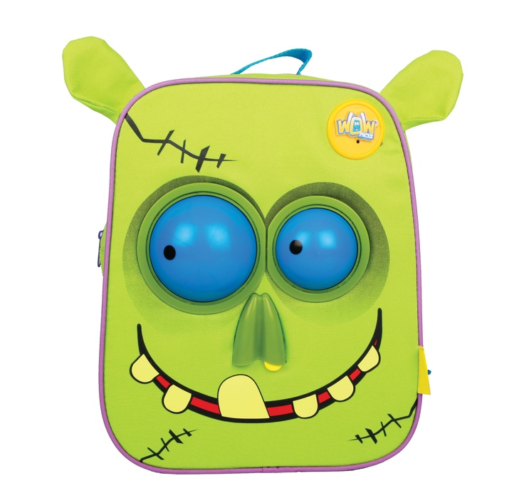 Wow Packs - Bags of Character, Loaded with Fun!  Wow Packs are the worlds first animated backpacks. Coming in two characters, Snot the Zombie and Cutezee the Kitten.  Use the button on the strap to spin Snots eyes, drip his snotty nose and make grewsome Zombie noises!
