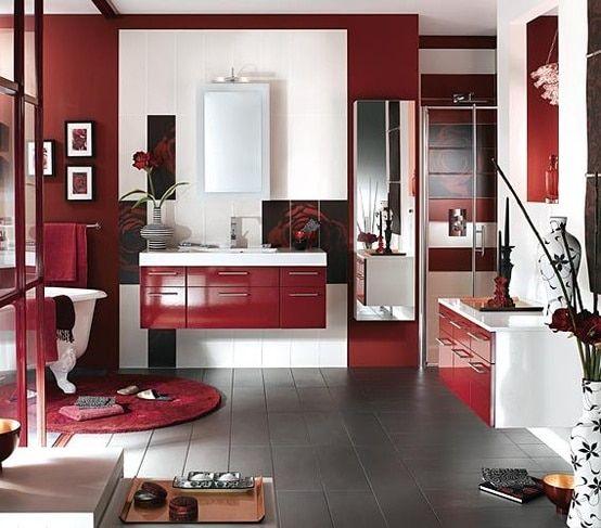 Die 25+ besten Salle de bains grise et rouge Ideen auf Pinterest