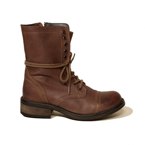 Hollister Steve Madden TROPA2-0 Boot (230 ILS) ❤ liked on Polyvore featuring shoes, boots, ankle booties, brown, steve, steve madden, leather booties, brown leather ankle booties, brown leather booties and brown leather boots