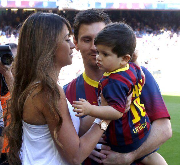 Leo Messi and son Thiago and wife Antonella!