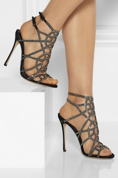 Heel measures approximately 110mm/ 4.5 inches Black suede Buckle-fastening ankle straps Small to size. See Size & Fit tab.