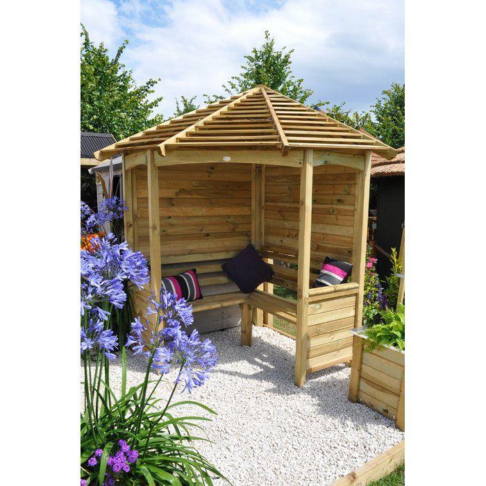 Venetian 4 Seater Wooden Corner Arbour Corner Garden Seating Corner Garden Garden Arbor