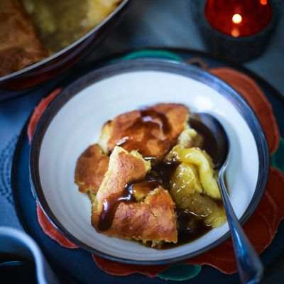 Eve's pudding with rum toffee sauce