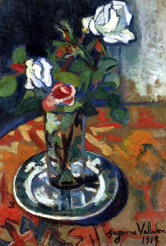 ❀ Blooming Brushwork ❀ - garden and still life flower paintings - Roses in a Vase / Suzanne Valadon - 1914