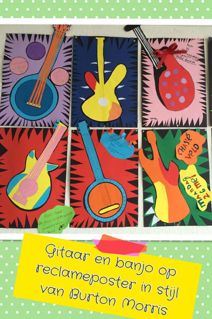 Reclameposter jazz festival met als thema gitaar en banjo - in de stijl van Burton Morris - groep 8 - met papier