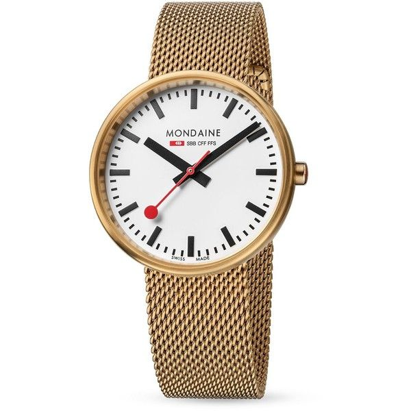Mondaine Mini Giant Watch, 35mm (370 CHF) ❤ liked on Polyvore featuring jewelry, watches, white, white wrist watch, mondaine watches, white jewelry, white watches and mondaine