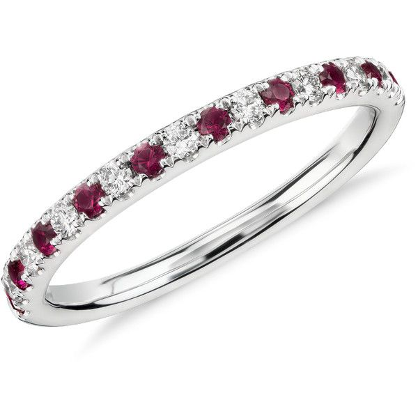 Blue Nile Riviera Pav Ruby and Diamond Ring ($560) ❤ liked on Polyvore featuring jewelry, rings, blue nile, stackable diamond rings, stackable rings, 14 karat gold jewelry e ruby ring