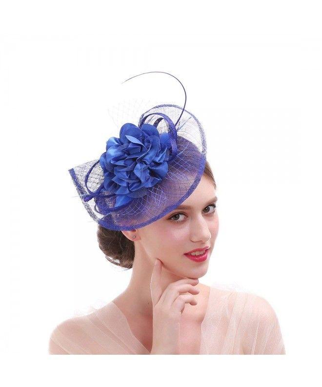 Sinamay Feather Fascinator Headband Flower Derby Hat for Women - Royal Blue  - C11866GS67S #Fascinators #Women's … | Fascinator headband, Derby hats,  Hats for women