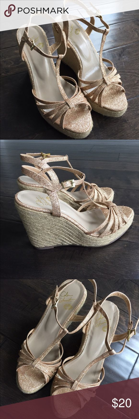 Colin Stuart champagne espadrilles Colin Stuart champagne glitter espadrille wedge sandals. Excellent used condition. Colin Stuart Shoes Espadrilles