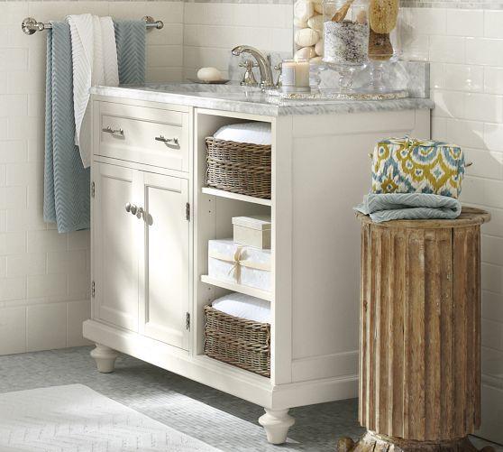 1800 classic modular asymmetric single sink console with cubbies pottery barn cedar baths. Black Bedroom Furniture Sets. Home Design Ideas
