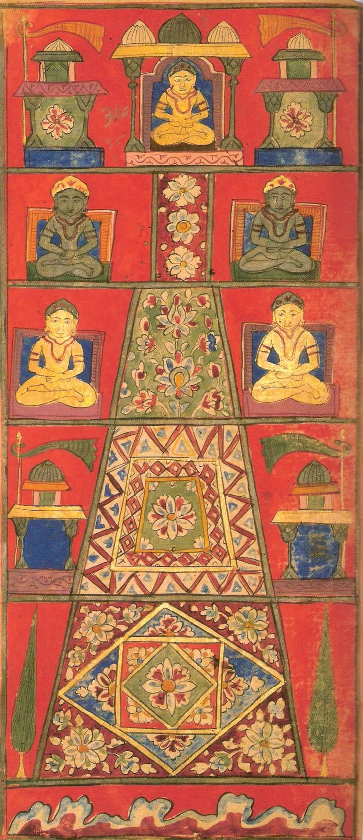 Painting of Mount Meru as per Jain cosmology from Jain text Samghayanarayana loose-leaf manuscript;  ca. 17th century Ink, opaque-watercolor, and gold-on-paper.
