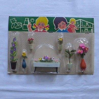 puppenstuben vero  | DDR Puppenstube OVP Packung Pflanze Blume Vase Blumenbank Kamenz
