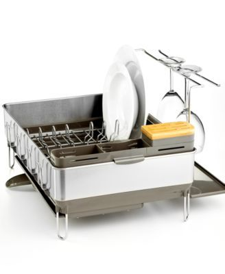 simplehuman Dish Rack, Steel Frame with Wine Glass Holder | macys.com