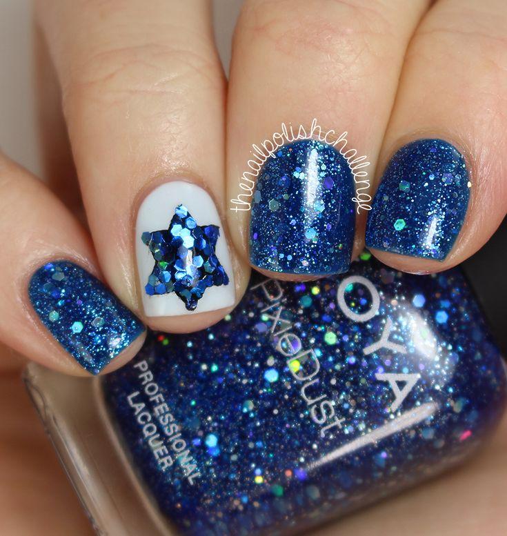 "thenailpolishchallenge: ""Chanukah nail art on the blog! Read more here! """