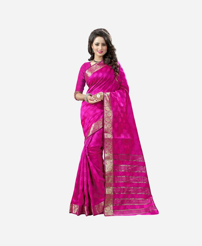 Party Wear Cotton Silk Sarees Online Shopping at Renzza. Buy Latest Designer, Pink Cotton Silk Saree Online in [COD Only India] USA, UK & Canada.
