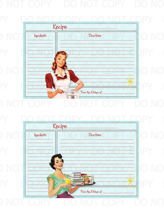 Printable 1950's Retro Housewife Recipe Cards by onelovedesignsllc