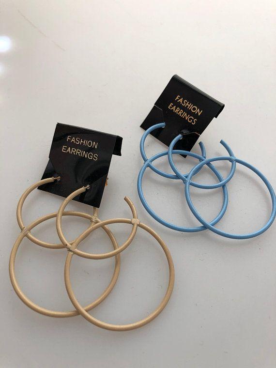 1960s Vintage Hoop Earrings Intersecting Hoops Enameled Pierced Double Funky 60s Nos