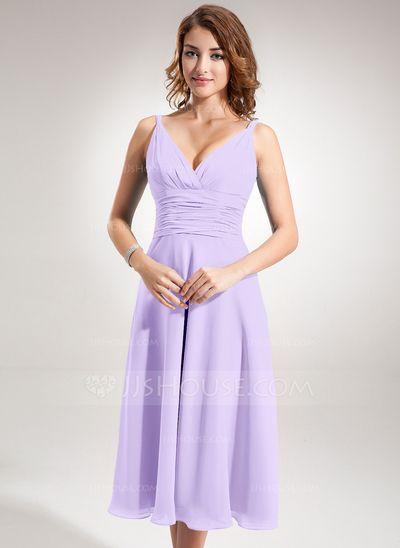 A-Line/Princess V-neck Tea-Length Chiffon Bridesmaid Dress With Ruffle (007001896)