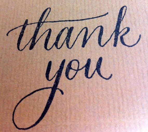 Custom Modern Calligraphy Thank You Stamp by EverlyCalligraphy, $24.00