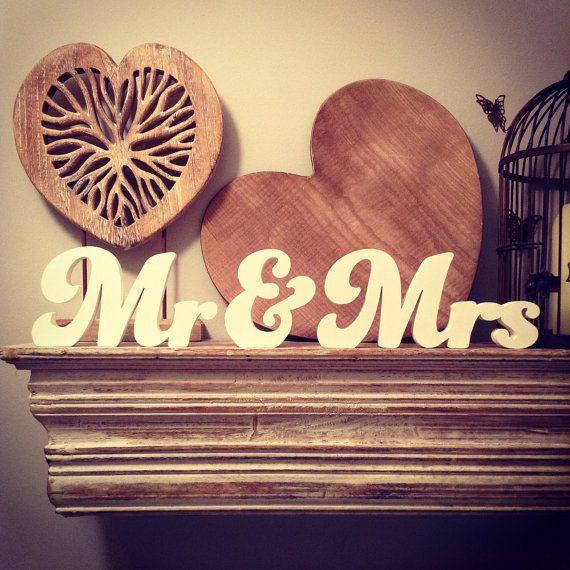 Wooden Wedding Letters  Mr & Mrs  New Funky Font by LoveLettersMe