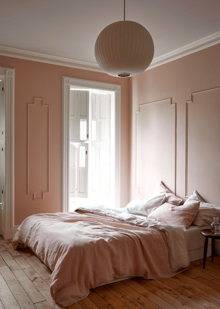 Pale pink bedroom in Brooklyn by architect Jess Thomas. Kate Sears photo.