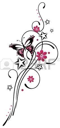 Stammen met sterren en vlinder, roze en zwart
