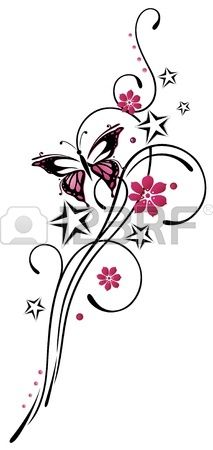 Tribal with stars and butterfly pink and black Stock Vector
