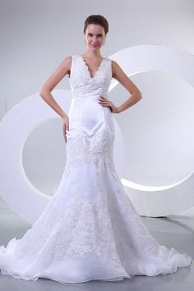 Trumpet Mermaid V-Neck Organza Bridal Gown - Order Link: http://www.thebridalgowns.com/trumpet-mermaid-v-neck-organza-bridal-gown-tbg0753 - SILHOUETTE: Trumpet/Mermaid; SLEEVE: Sleeveless; LENGTH: Court Train; FABRIC: Organza; EMBELLISHMENTS: Applique - Price: 150USD