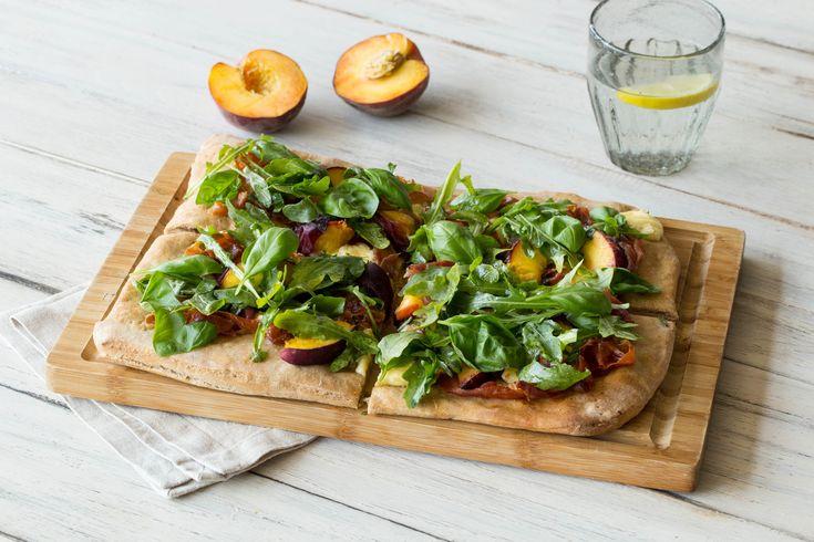 Peach and Proscuitto Flatbread with Fresh Mozzarella and Balsamic Arugula Salad | HelloFresh Recipe