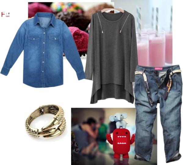 """Women Long Sleeve Lapel Dark Blue Jean Shirts"" by fashionsara1987 ❤ liked on Polyvore"