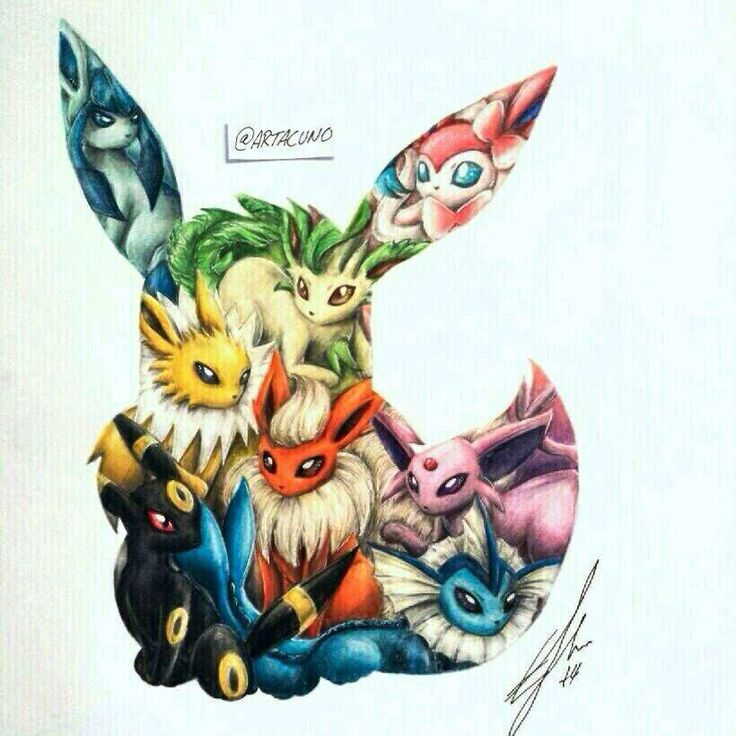 Eevee evolutions by @artacuno                                                                                                                                                      More