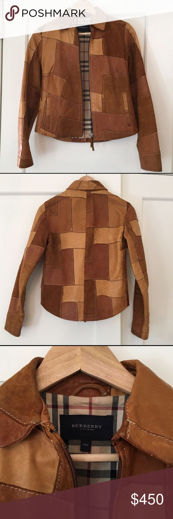 Burberry Suede and Leather Patchwork Jacket This gorgeous Burberry jacket is so hard to part with, but it's better off with someone who will get more use out of it! Fully lined with distinctive Burberry plaid, two pockets, zip closure at center. Amazing 70's style patchwork. Only worn a few times - slight wear on suede at armpits (pictured above) and very slight wear at bottom right corner by zipper (contact me and will gladly send picture). Size UK 6 - I am between a US 4-6 and it fits…