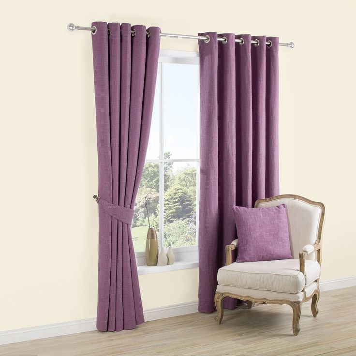 Carina Blueberry & Purple Plain Woven Eyelet Lined Curtains (W)167 cm (L)228 cm   Departments   DIY at B&Q