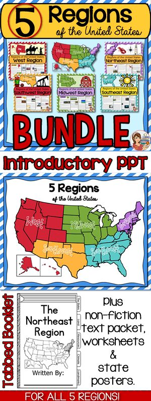 Five regions of the United States BUNDLE! Over 200 pages of useful content.
