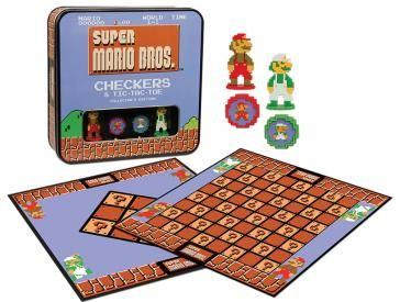 Super Mario Bros. Checkers & Tic-Tac-Toe Collector's Edition  The Super Mario Bros. Collector's Edition of Checkers & Tic-Tac-Toe celebrates one of the most popular video games of all time with an 8-bit styled double-sided game board as well as custom checkers and Mario and Luigi kinging pieces.