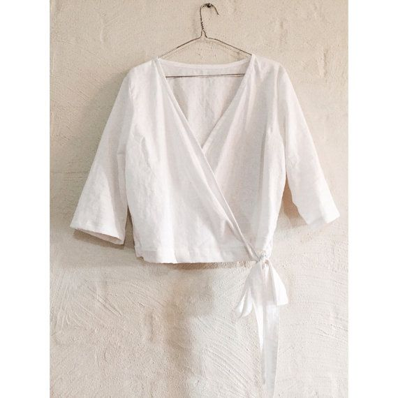 Wrap top linen by robinneststudio on Etsy