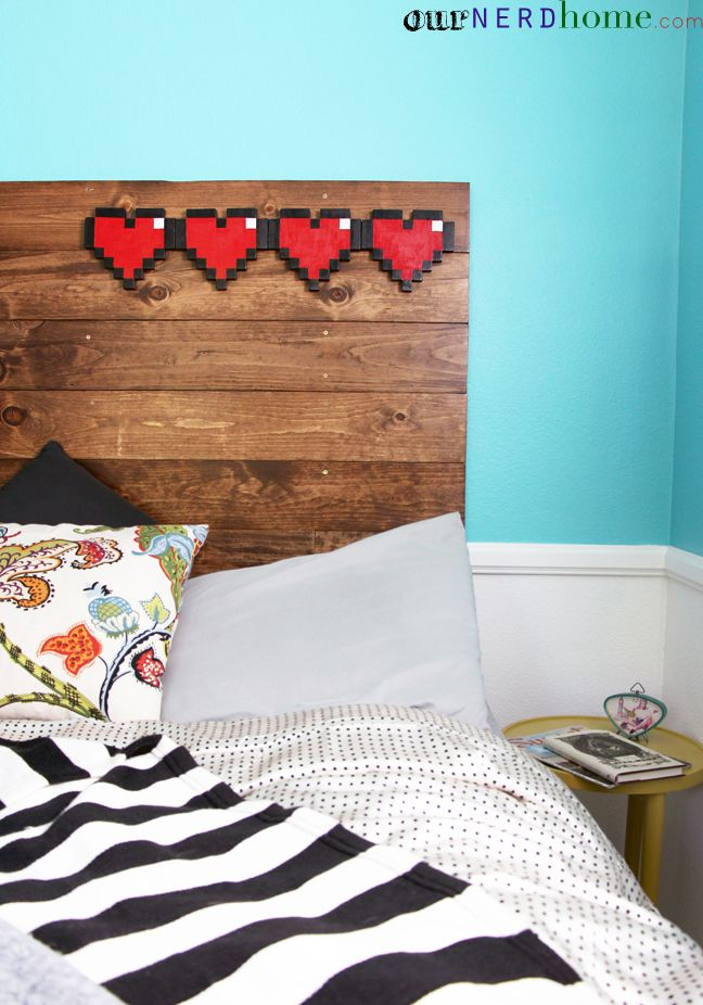 DIY headboard with 8-bit hearts.