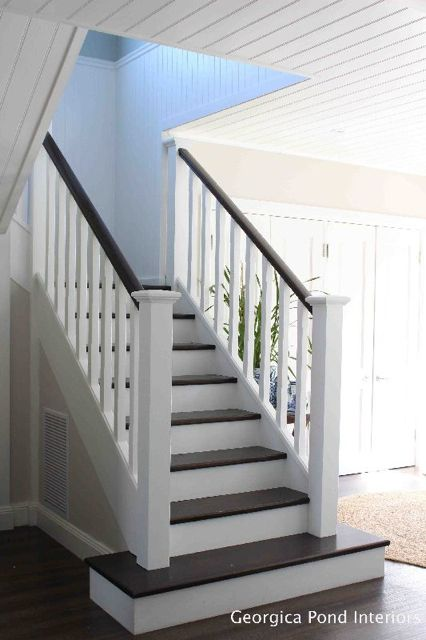 Hamptons Style – Home Tour. She used glossy paint on the stair post, east yo clean