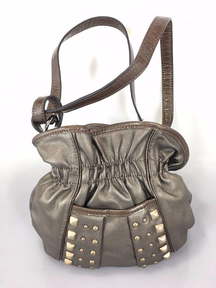 Kathy Van Zeeland Bronze Gold Studs Small Cross-Body Shoulder Bag Handbag #KathyVanZeeland #MessengerCrossBody