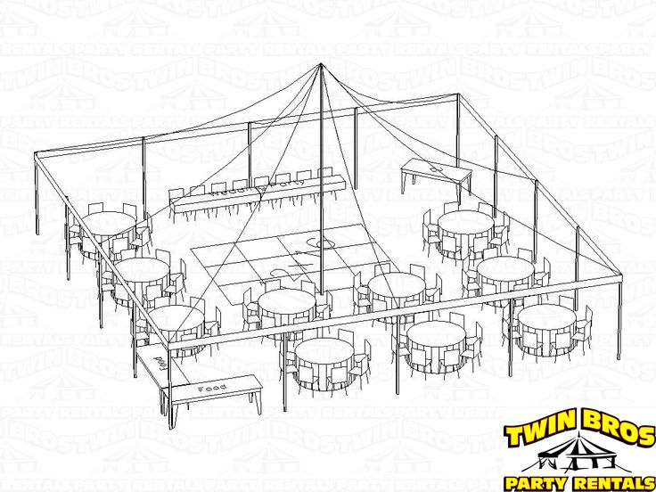 30x60 Tent Seating | Layout #1  Seating For 88 People With 60 Inch Round