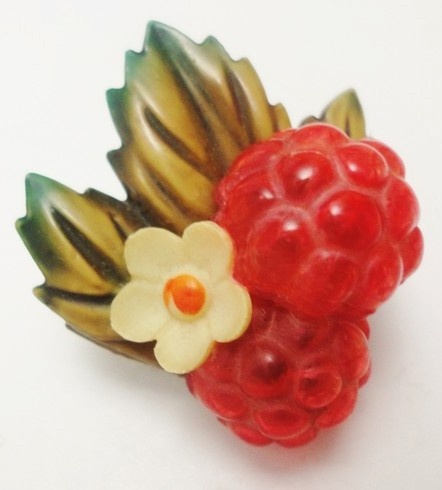 Vintage Weeber ? Celluloid Button Raspberries on Leaf with Flower