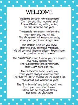 WELCOME BACK POEM FOR BACK TO SCHOOL GOODIE BAG - TeachersPayTeachers.com